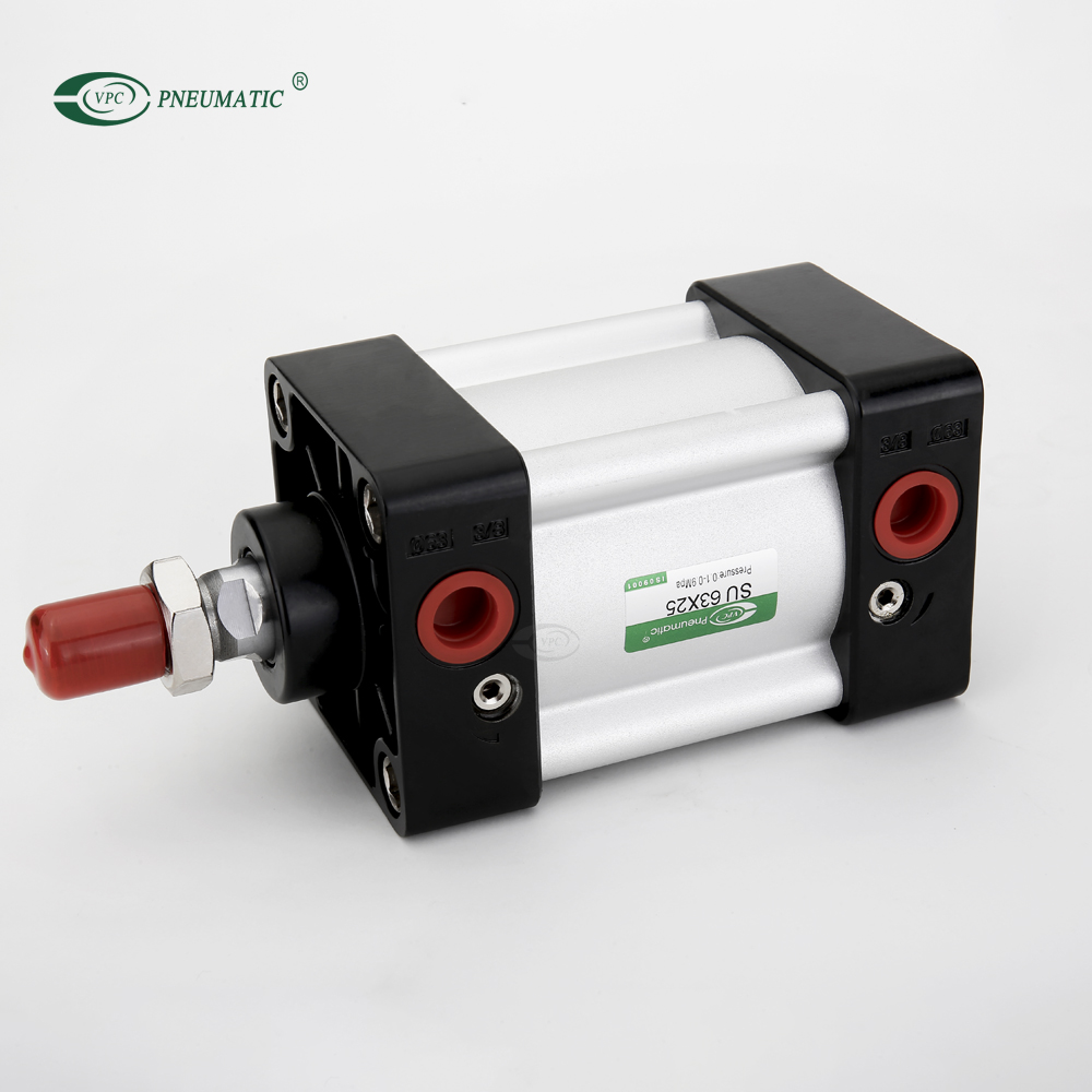 SU Standard 63mm, Bore 25mm Stroke Adjustable Buffer Double Acting Pneumatic Air Cylinder